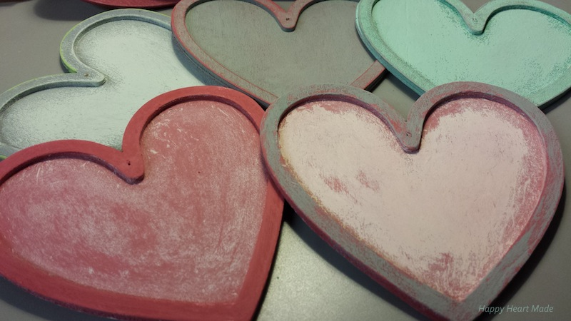 Wooden hearts - painted