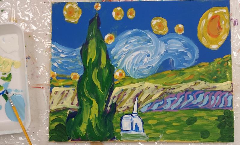 Starry Night Art Lesson For Kids Happy Heart Llc
