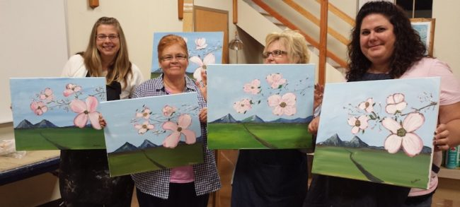 Masterpieces from Virginia Dogwood Paint Night